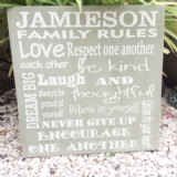 A Large Personalised Family Rules Board
